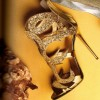 Gold Evening Shoes Cage Sandals 5 Inches Stiletto Heels Glitter Shoes thumb 1