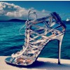 Phoebe Silver Wrapping Cage Peep Toe Talons à lacets Sandales Stilettos thumb 1