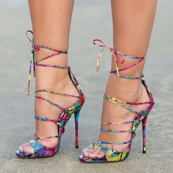Multi-color Strappy Sandals Lace up Stiletto Heel Sexy Shoes image 1