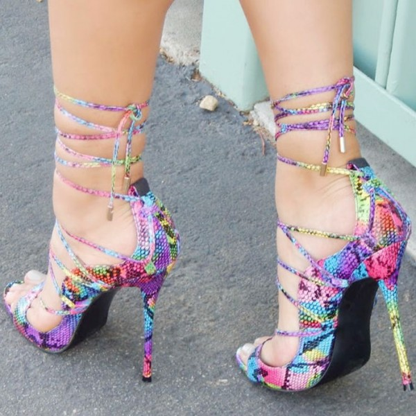 Multi-color Strappy Sandals Lace up Stiletto Heel Sexy Shoes image 3