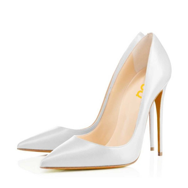 White Office Stiletto Heels Dress Shoes Pointy Toe Commuting Pumps image 1
