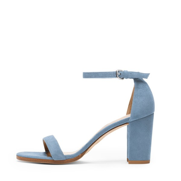 Light Blue Suede Ankle Strap Sandals Open Toe Chunky Heel Sandals image 3