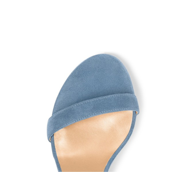 Light Blue Suede Ankle Strap Sandals Open Toe Chunky Heel Sandals image 2
