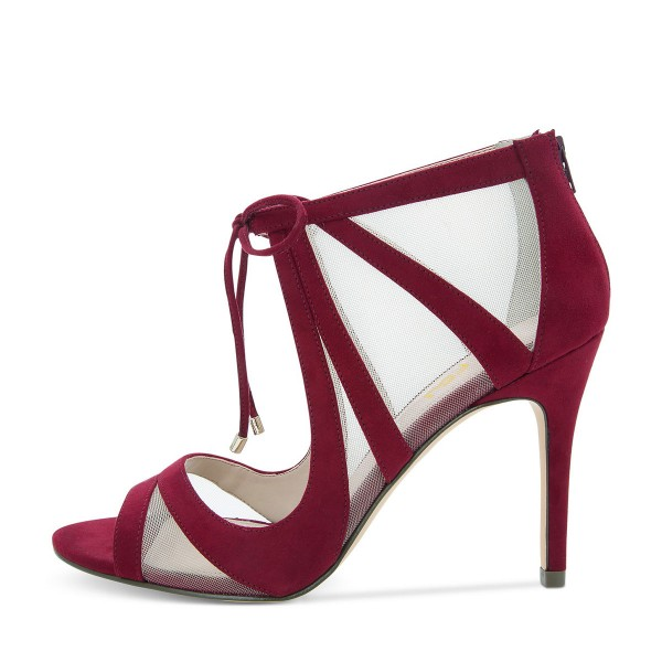 Burgundy Heels Mesh Peep Toe Suede Cut out Lace up Pumps image 5