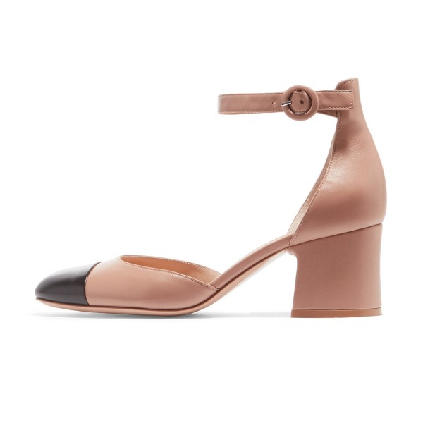 Nude Strap Ankle Strap Vintage Chunky Talons Chaussures Femme image 2
