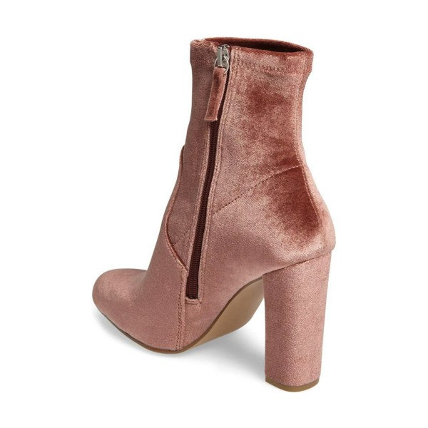 Blush Chunky Talon Boots Bottes en velours à la mode image 4