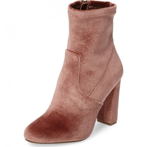 Blush Chunky Talon Boots Bottes en velours à la mode image 1