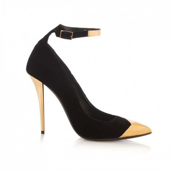 Black and Gold Ankle Strap Heels Stilettos Pumps Metallic Heels image 6