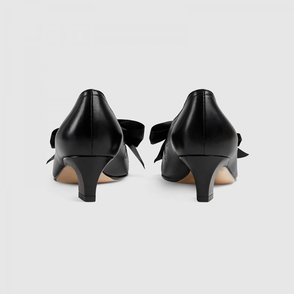Black Bow évider Chunky Heel Office Talons Pompes image 3