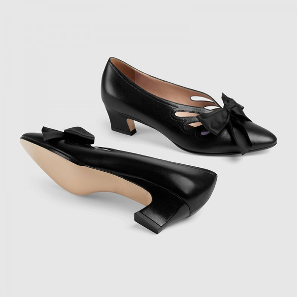 Black Bow évider Chunky Heel Office Talons Pompes image 4