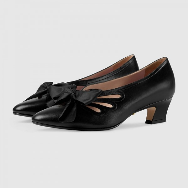 Black Bow évider Chunky Heel Office Talons Pompes image 1