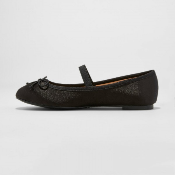 Bow Mary Black Shoes chaussures ballet bout rond image 2