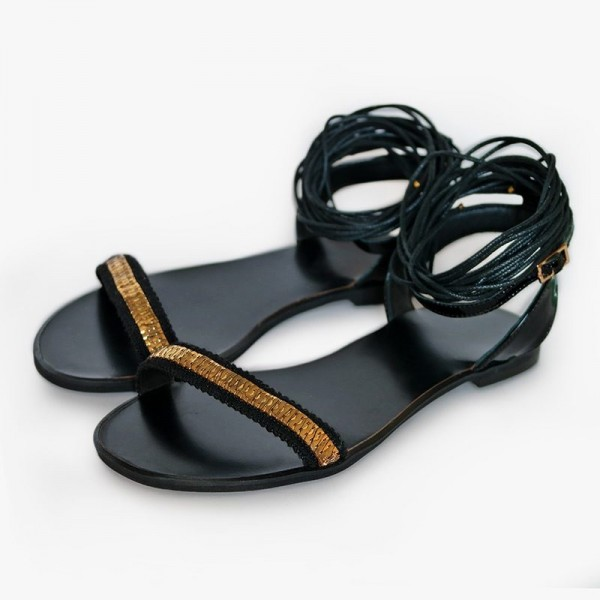 Silver Beach Sandals Gladiator Strappy Sandales plates avec strass image 1