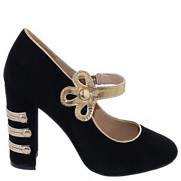Mary Jane noire talons pompes bout rond Chunky image 3