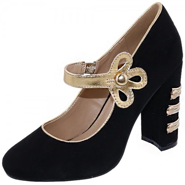 Mary Jane noire talons pompes bout rond Chunky image 1
