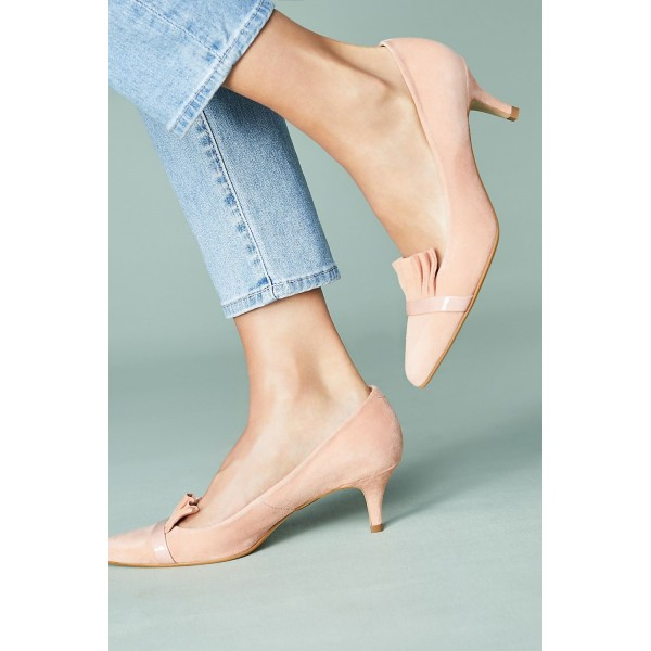 Blush Kitten Heels Pointy Toe Suede Comfortable Shoes image 3