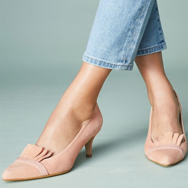 Blush Kitten Heels Pointy Toe Suede Comfortable Shoes image 1