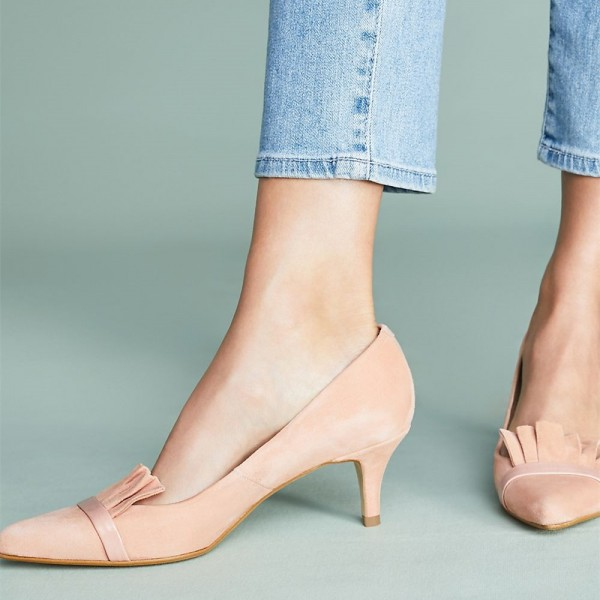 Blush Kitten Heels Pointy Toe Suede Comfortable Shoes image 2