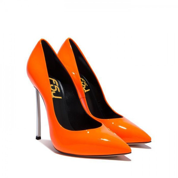 FSJ Shoes - Escarpins orange à talons aiguilles superbes - Escarpins en cuir verni à bouts pointus image 2