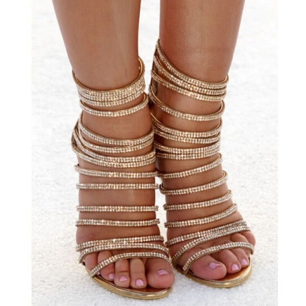 Gold Evening Shoes Rhinestone Stiletto Heel Strappy Sandals for Party image 3