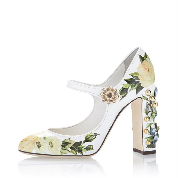 Strass floral vert bout rond Chunky Talons Mary Jane Escarpins image 3