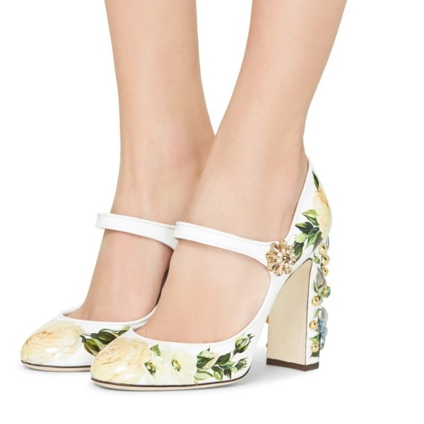 Strass floral vert bout rond Chunky Talons Mary Jane Escarpins image 1