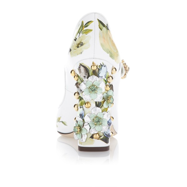 Strass floral vert bout rond Chunky Talons Mary Jane Escarpins image 4