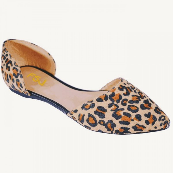 Léopard Imprimer Flats Pointy Toe Double D'orsay Pumps Chaussures image 4