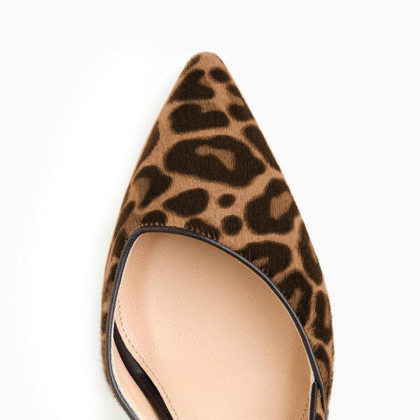 Leopard Print Heels Pointy Toe Stilettos Suede D'orsay Pumps image 3