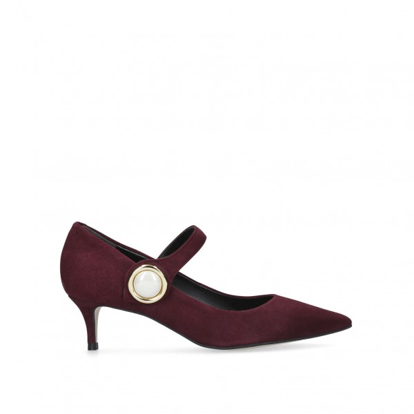 Maroon Mary Jane Pumps Pointy Toe Talons Vintage Chaussures image 4