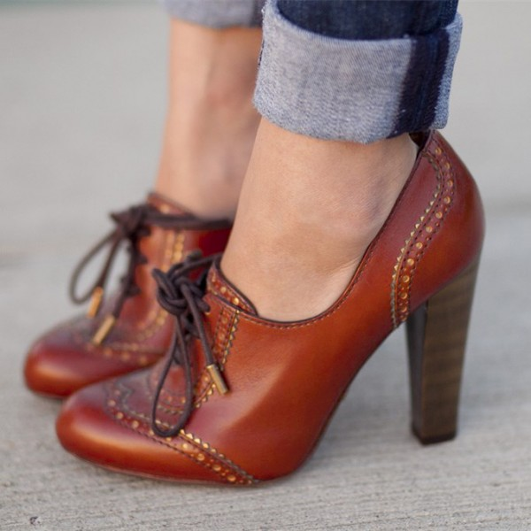 Maroon Lace up Oxford Heels Vintage Shoes Chunky Heel Oxford Pumps image 1