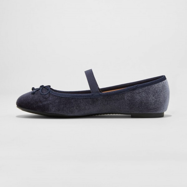 Navy Velvet Mary Jane Chaussures Ballerines bout rond Flats image 2