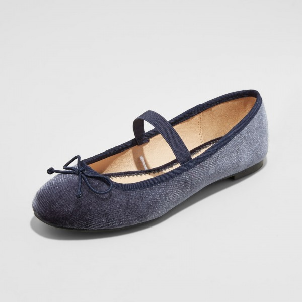 Navy Velvet Mary Jane Chaussures Ballerines bout rond Flats image 1