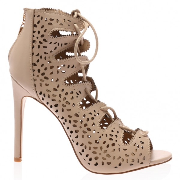 Nude Strappy Heels évider lacets Sandals Talons Aiguilles image 3
