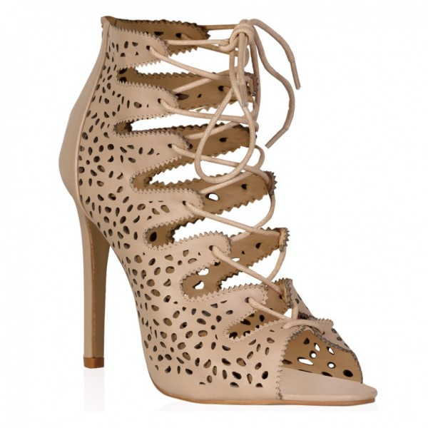 Nude Strappy Heels évider lacets Sandals Talons Aiguilles image 2