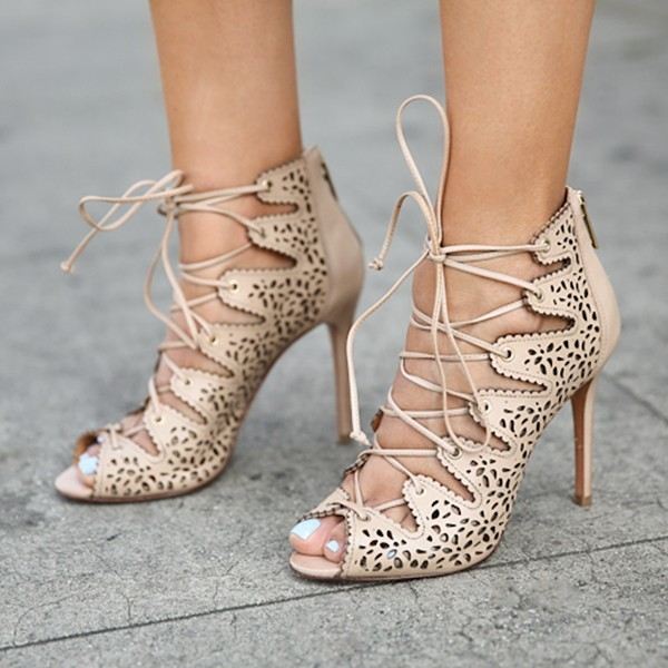 Nude Strappy Heels évider lacets Sandals Talons Aiguilles image 4