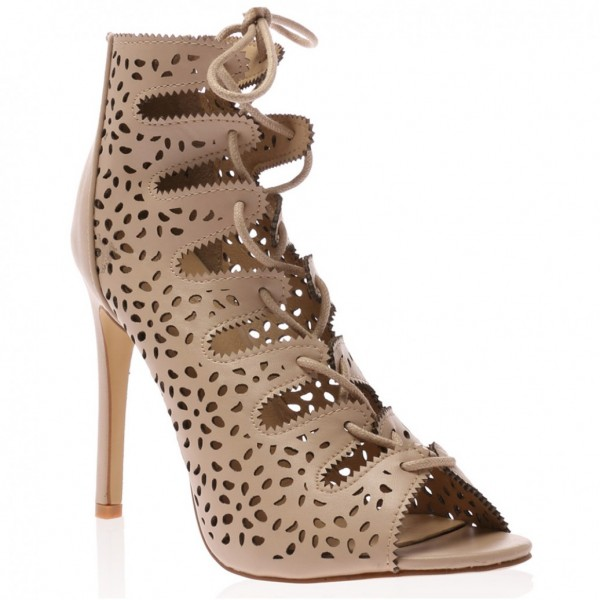 Nude Strappy Heels évider lacets Sandals Talons Aiguilles image 5