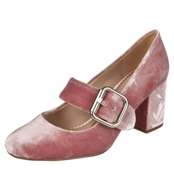 Rose Mary Jane Velvet Pumps Block Talon Chaussures Vintage image 1