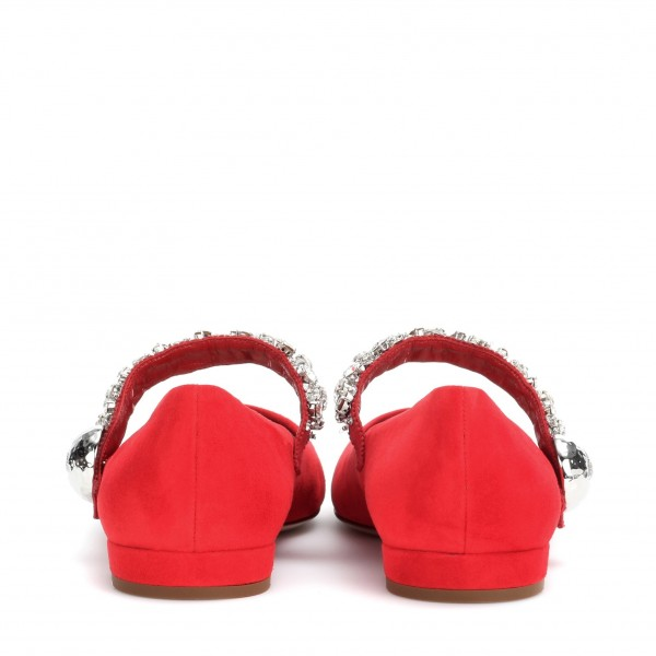 Strass Plat Rouge Mary Jane Chaussures image 3