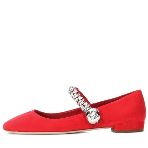 Strass Plat Rouge Mary Jane Chaussures image 2