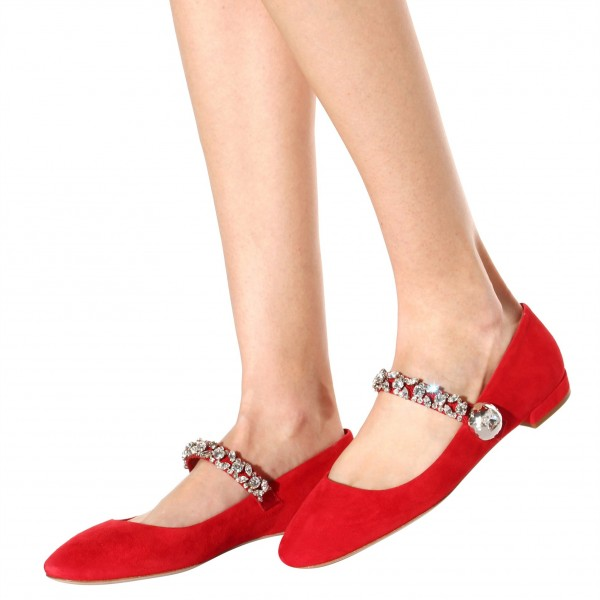 Strass Plat Rouge Mary Jane Chaussures image 4