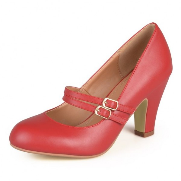 Red Mary Jane Pumps Chaussures Chunky Heel Vintage pour femmes image 1