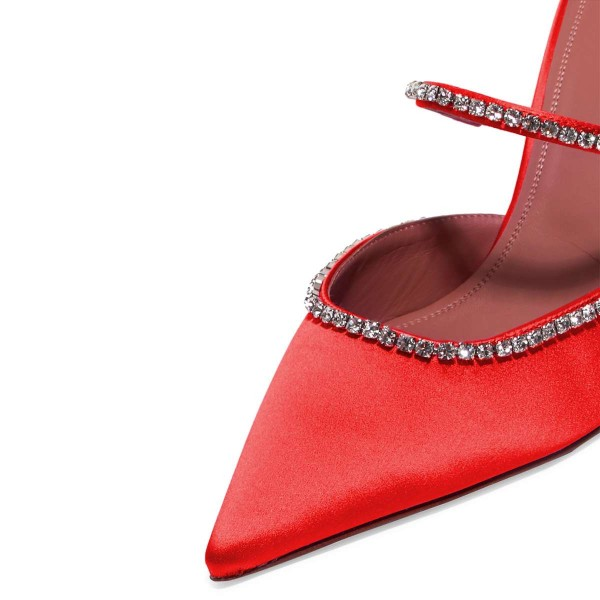 Satin rouge à bout pointu strass mule talons image 4