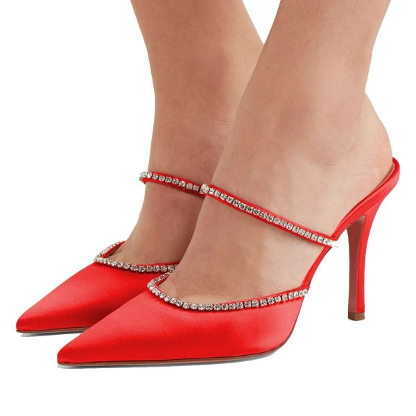 Satin rouge à bout pointu strass mule talons image 1