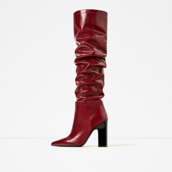 Bottes Slouch Rouges à bouts pointus Talons Chunky image 1