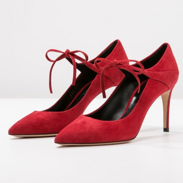 Suede Red Lace Up Talons Pointy Toe Stiletto Talon Pompes Taille US 3-15 image 1