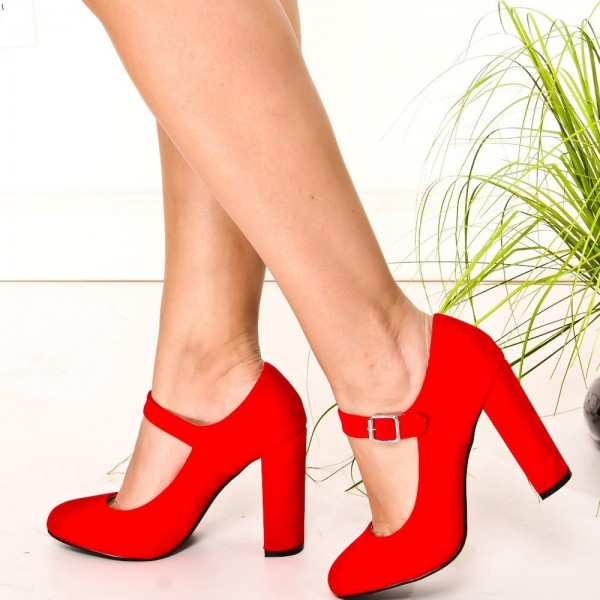 Chaussures en daim rouges Mary Jane à bout rond chaussures à talons chunky image 1