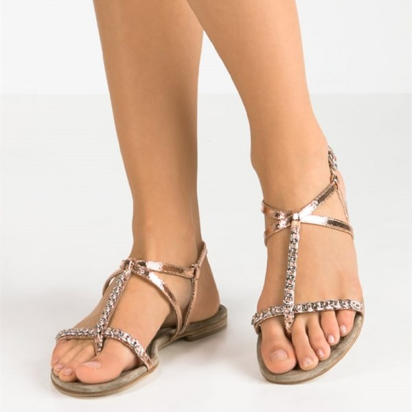 Rose Gold Sandales Sparkly Open Toe T Strap Sandales plates US Taille 3-15 image 1
