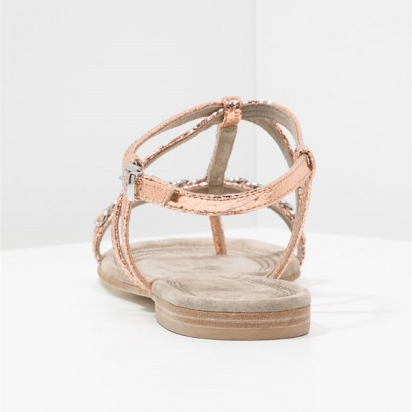 Rose Gold Sandales Sparkly Open Toe T Strap Sandales plates US Taille 3-15 image 2