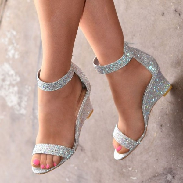Silver Glitter Shoes Ankle Strap Wedge Heels Sandals image 1
